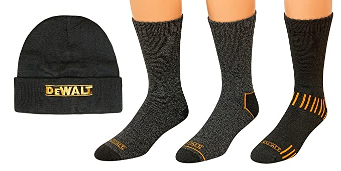 DeWALT 3 Pair Everyday Cotton Blend Work Crew Socks and Fleece Hat Set,10-