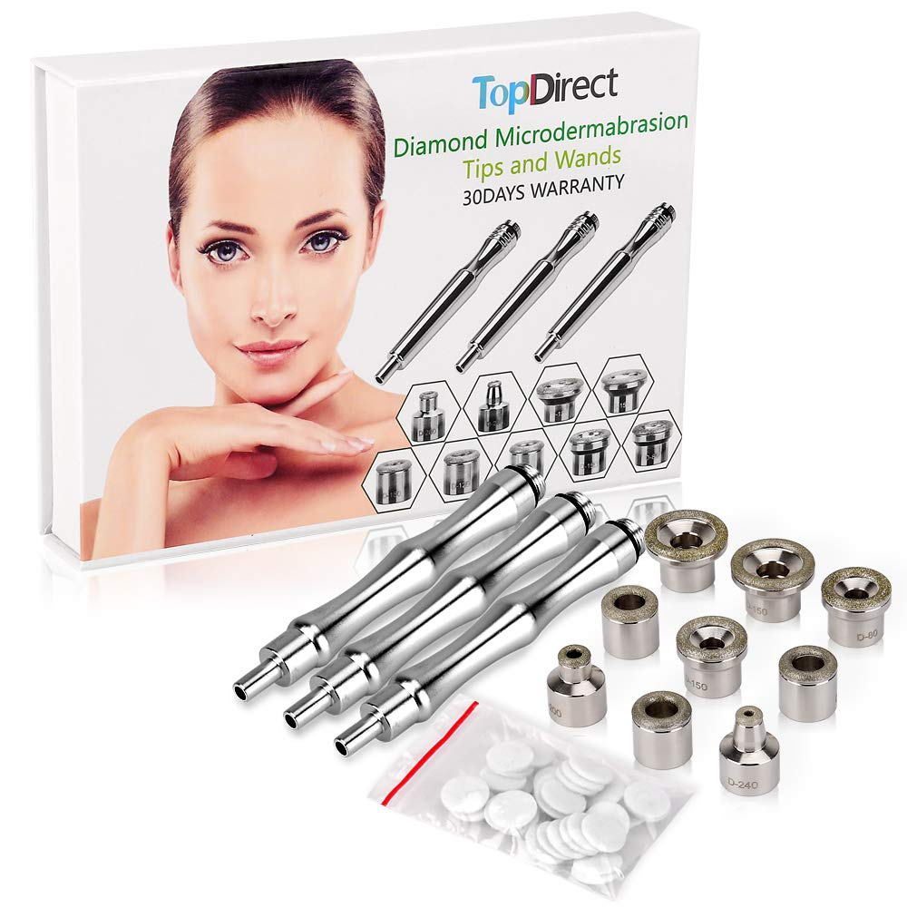 [Upgrade Version] Diamond Microdermabrasion Dermabrasion Replacement Accessories 3 Wands 9 Tips Cotton Filter for Facial Peeling Face Skin Care Salon Beauty Machine Equipment by TopDirect