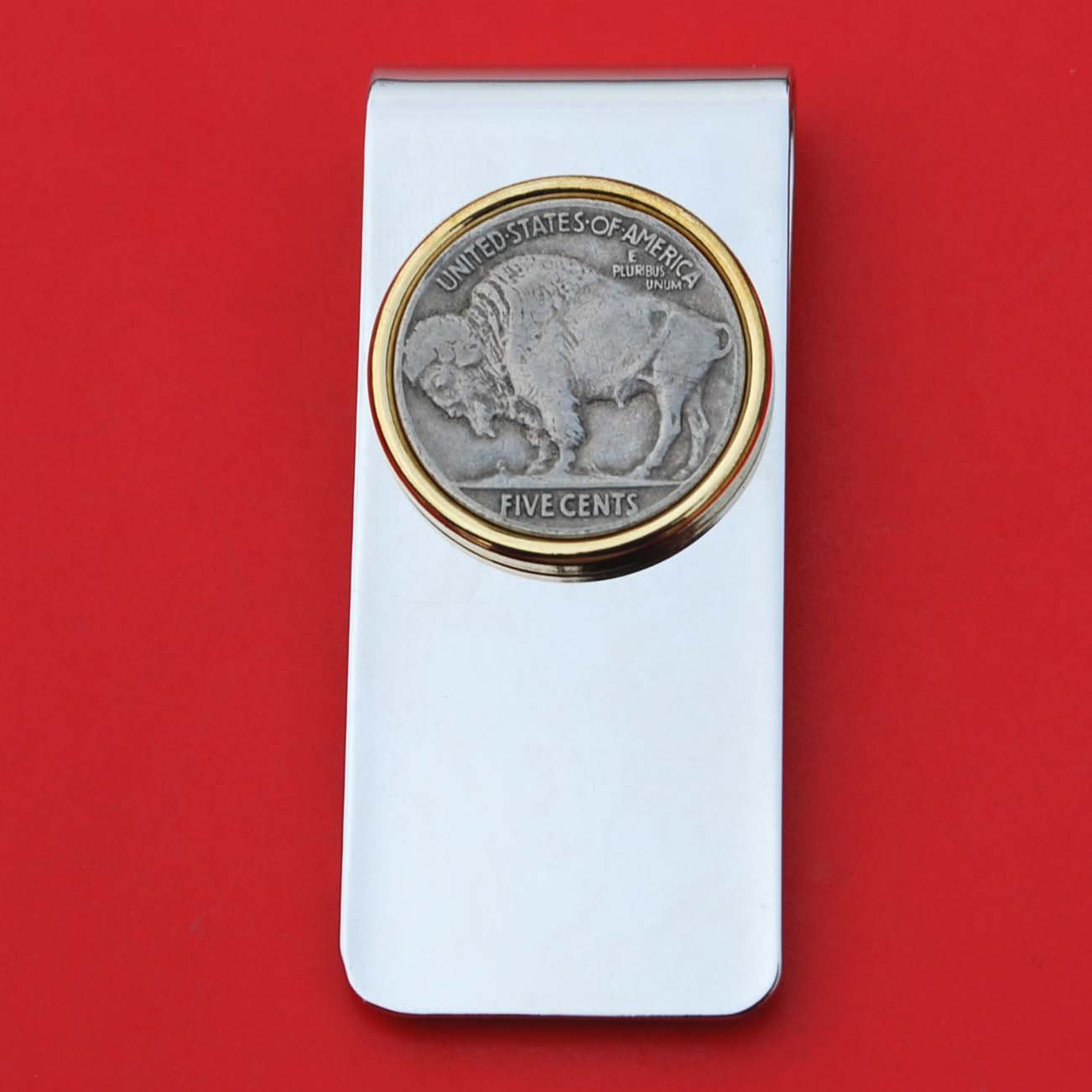US 1913 ~ 1938 Indian Head Buffalo Nickel 5 Cent Coin Solid Brass Gold Silver Two Tone Money Clip New - High Quality