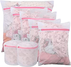 LEARJA Delicates Laundry Bags, Mesh Laundry Bag, Washing Machine Bag for Underwear, Lingerie, Bra, Pantyhose, Sock, Shoe, Travel Storage Organize Bags - 7 Pack