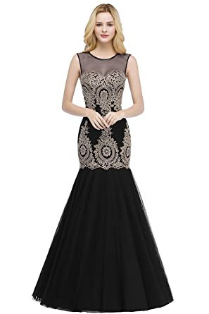 MisShow Womens Sexy Mermaid Lace Appliques Gold Prom Evening Dresses Black US2