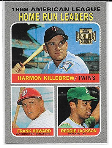 Harmon Killebrew, Frank Howard & Reggie Jackson 2001 Topps Archives 1970 Topps 1969 American League Home Run Leaders Card #206