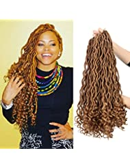 6pcs/pack Crochet Faux Locs Wavy Hair Braiding 24 roots/pack Goddess Faux Locs with Curly Ends Synthetic Hair Extension (27)
