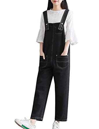 3abb3cef027a Amazon.com: Flygo Womens Loose Baggy Overalls Denim Jean Cropped Harem Pant  Jumpsuits Romper: Clothing