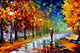 (US) Full Drill DIY 5D Diamond Painting By Number Kits, Walking in Forest Park Autumn Trees Scenery Diamond Crystal Embroidery Cross-Stitch Rhinestone Handmade Picture Stickers Craft Art
