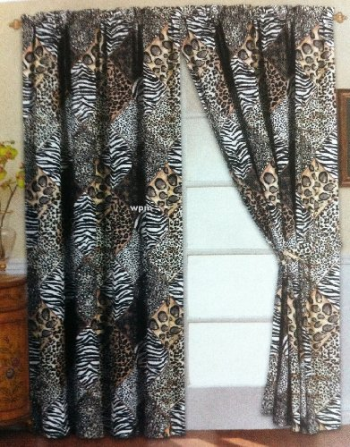4 Piece Curtain Set: 2 Jungle Safari Black White Giraffe Zebra Panels & 2 Tie Backs ()