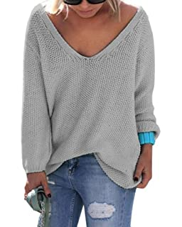 f2c91a2bb32c74 Voguegirl Womens Casual V Neck Loose Knit Sweater Pullover Tops at ...