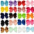 GBATERI 20 Pack Baby Girls 6 Inch Big Large Hair Bows Hair Clips Boutique Solid Colors Grosgrain Ribbon With Alligator Clips for Teens Kids Babies Girls Toddlers Children Gift Sets