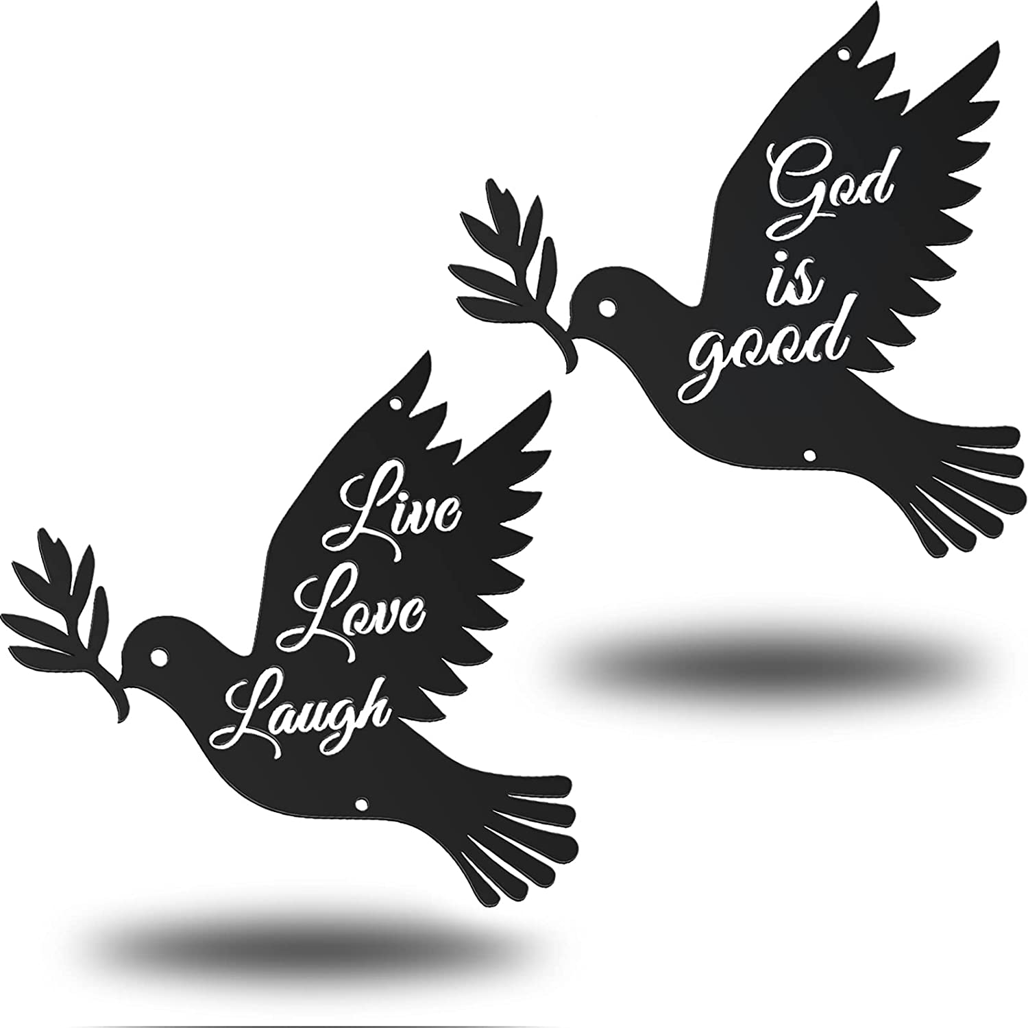 2 Pieces Metal Wall Hanging Decor Inspirational Word Art Steel Roots Decor Metal Spiritual Decorations Dove of Peace Metal Art Wall Decor Hanging Live Love Laugh God is Good for Home Living Room