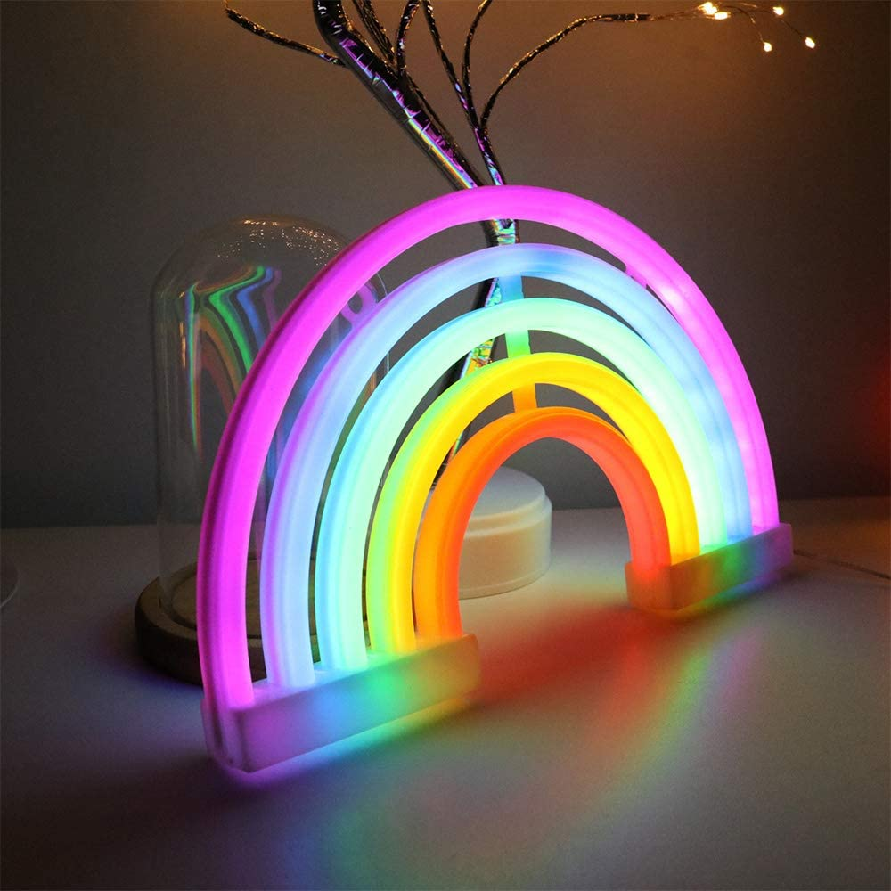 ENUOLI Rainbow Shape Neon Light Signs Wall Decoration USB Charging//Battery Night Sign LED Neon Decor Sign for Dorm Room Bedside Table Christmas Party Birthday Party Wedding Kids Room Kids Gift