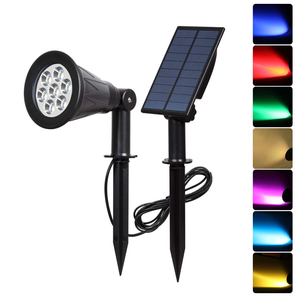180 Angle Adjustable for Tree Driveway Colorful T-SUN LED Solar Spotlights Yard 1 Pack Auto-on//Auto-Off by Day Stairs Garden Pool Area Patio Waterproof Outdoor Security Landscape Lamps