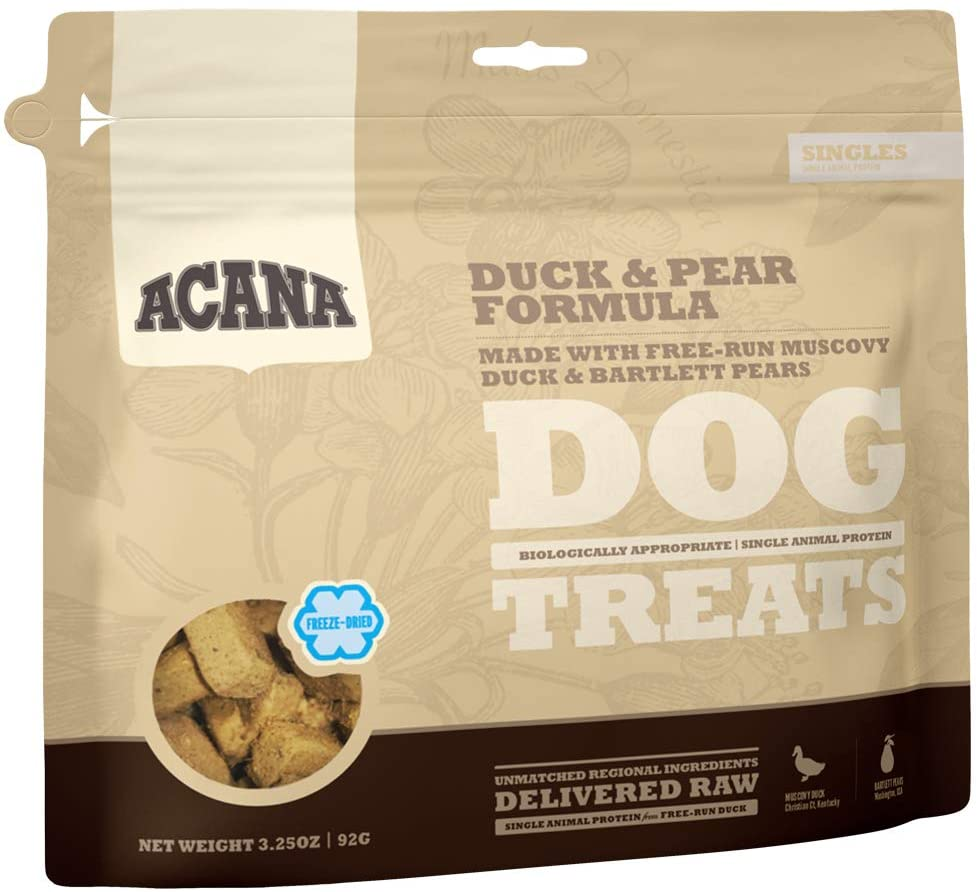 Acana Singles Grain Free Dog Treats, Limited Ingredients & Freeze-Dried, Made in USA, Duck & Pear, 3oz