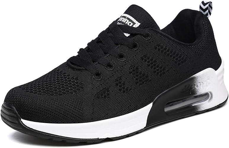 Mujeres Zapatillas de Deportivos de Running para Mujer Gimnasia Ligero Sneakers Malla Transpirable con Cordones Zapatillas Deportivas para Correr Fitness Atlético Caminar Zapatos Negro 40 EU: Amazon.es: Zapatos y complementos