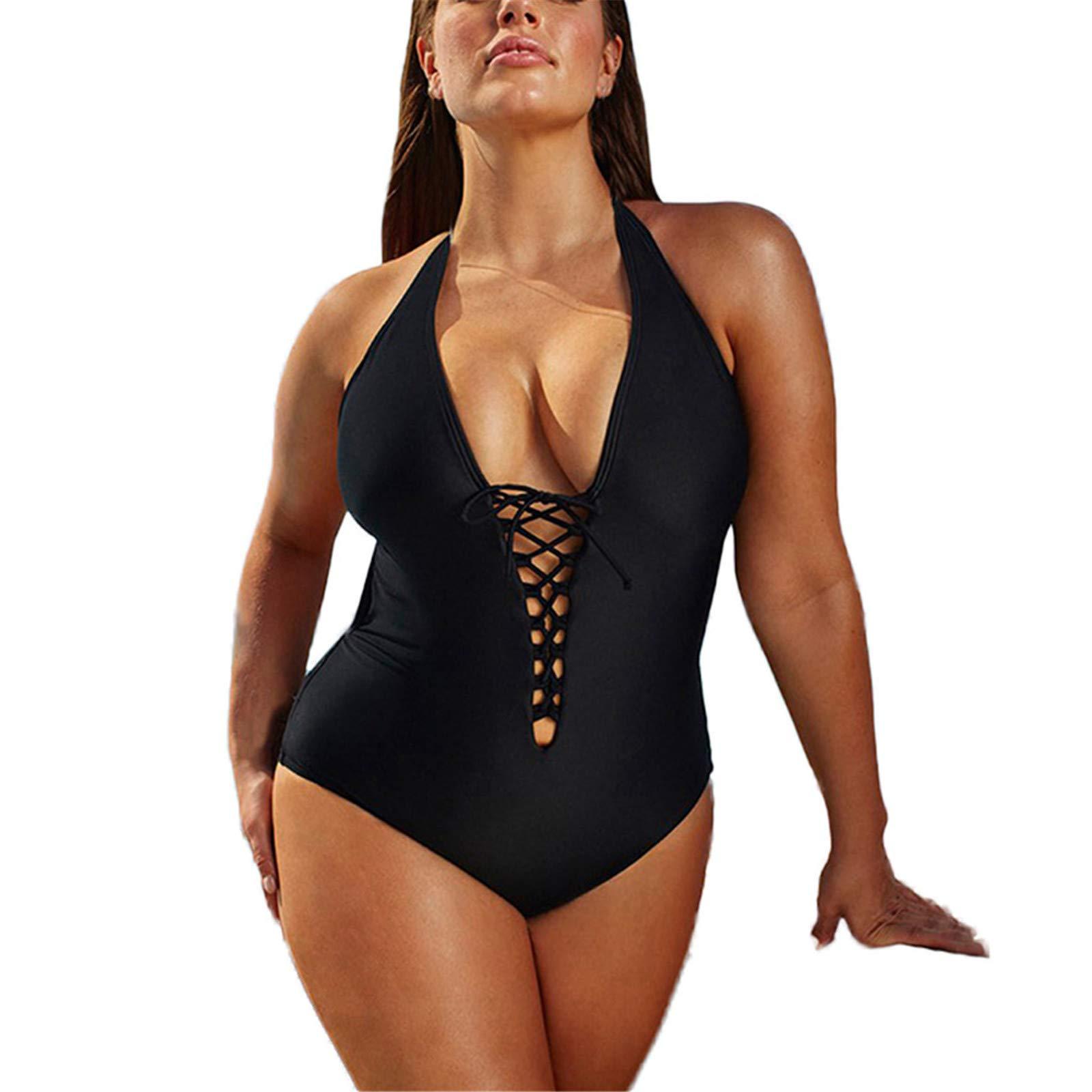 Thenxin Plus Size One Piece Swimsuit for Women Halter Deep V Neck Bandage Slimming Monokini Swimwear(Black,XXXXXL) by Thenxin
