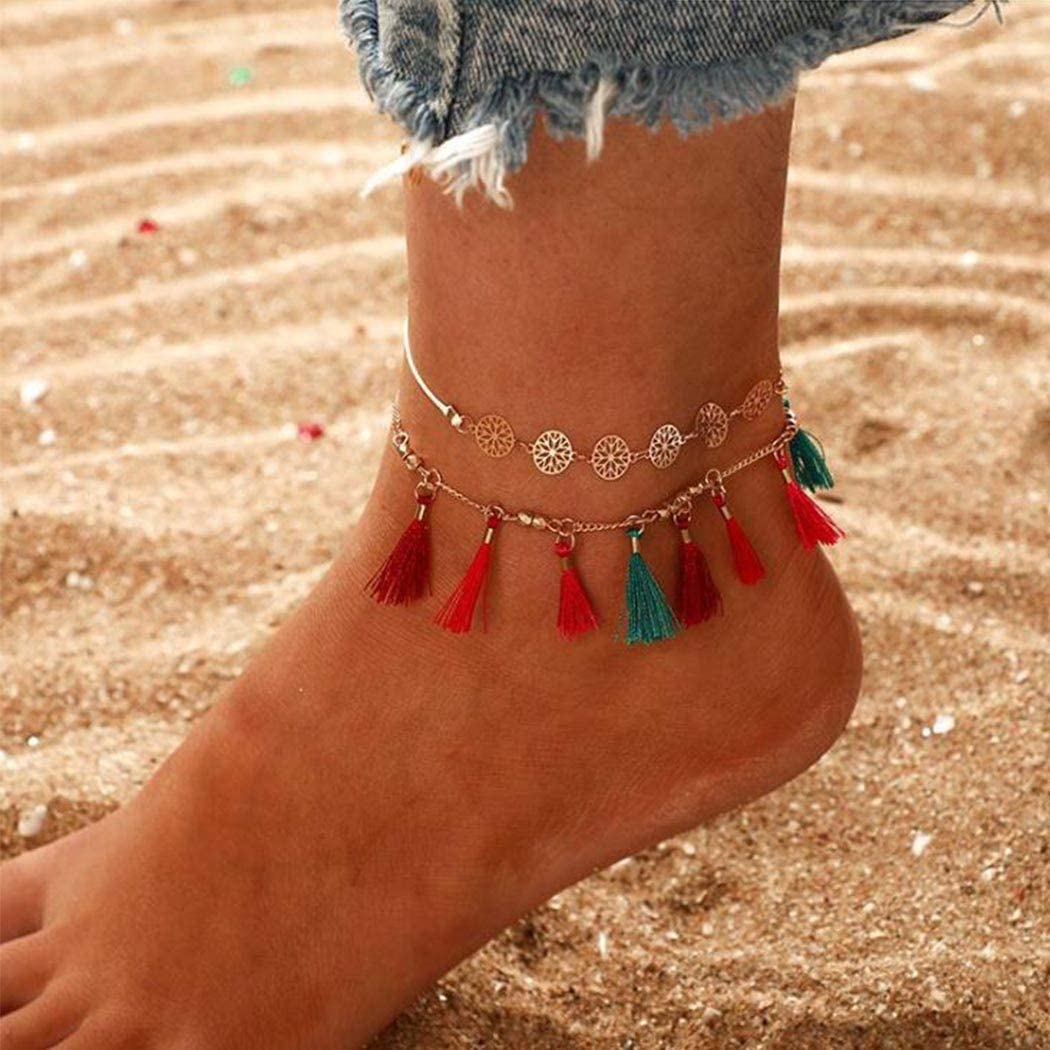 Ludress Boho Layered Anklets Colorful Flower Ankle Bracelet Tassel Foot Chain Jewelry Accessories for Women and Girls