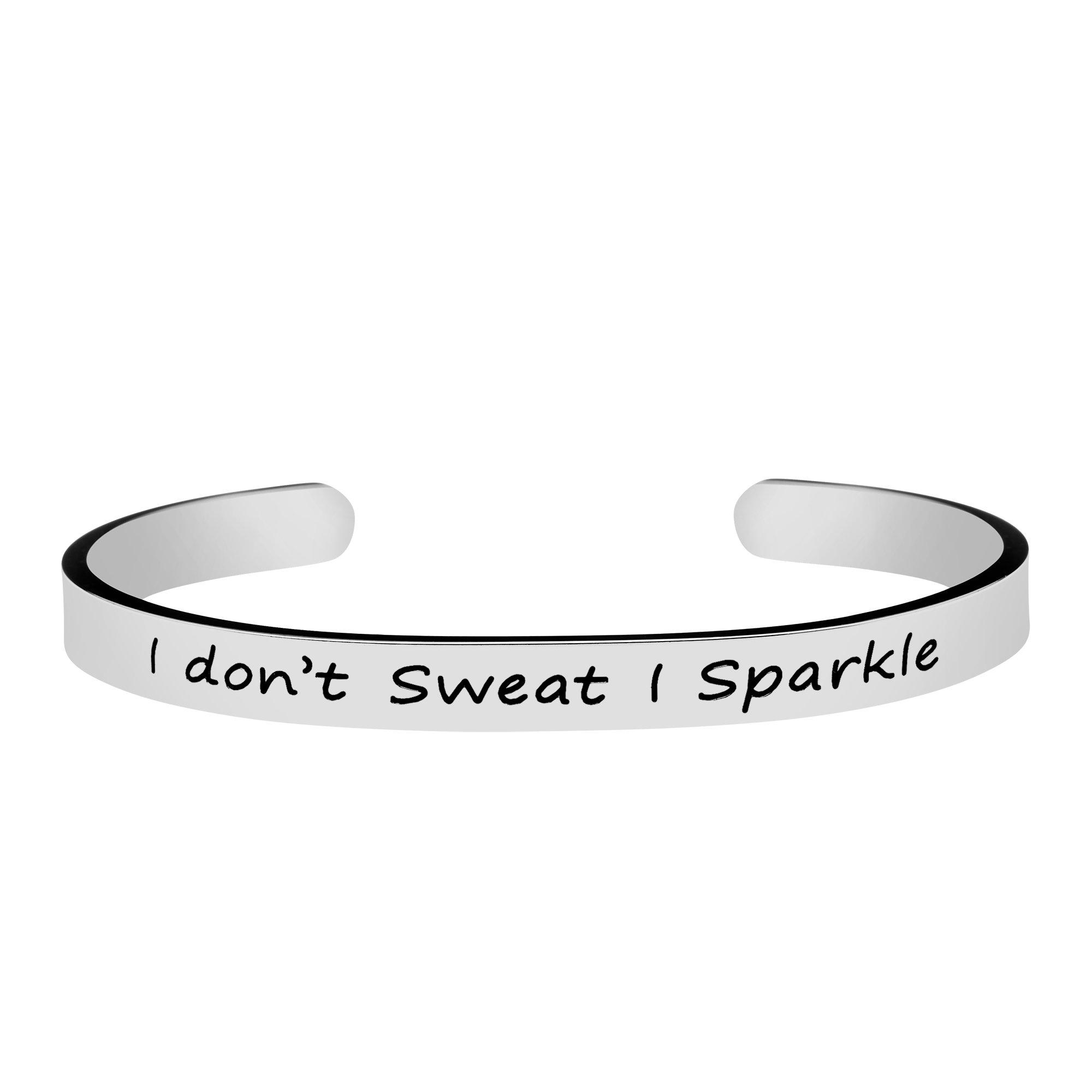 Joycuff Gym Workout Sport Fitness Jewelry for Women Silver Cuff Bracelet Mantra I Don't Sweat I Sparkle