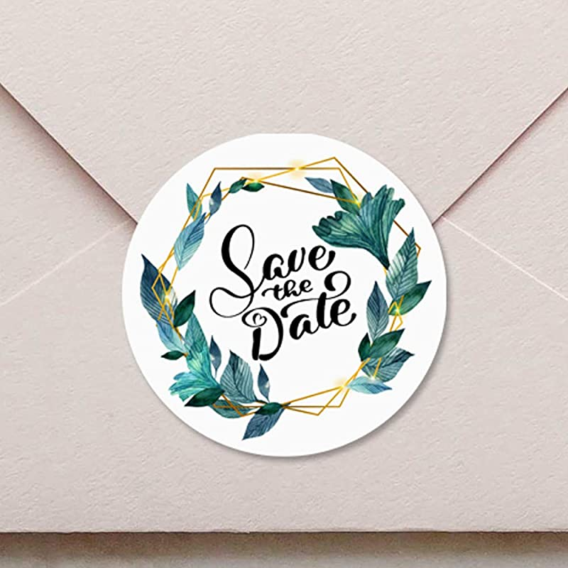 Round Frosted Stickers Save the Date Flower Line Art Foiled Wedding Sticker Metallic Wedding Envelope Seals Custom Real Rose Gold Foil