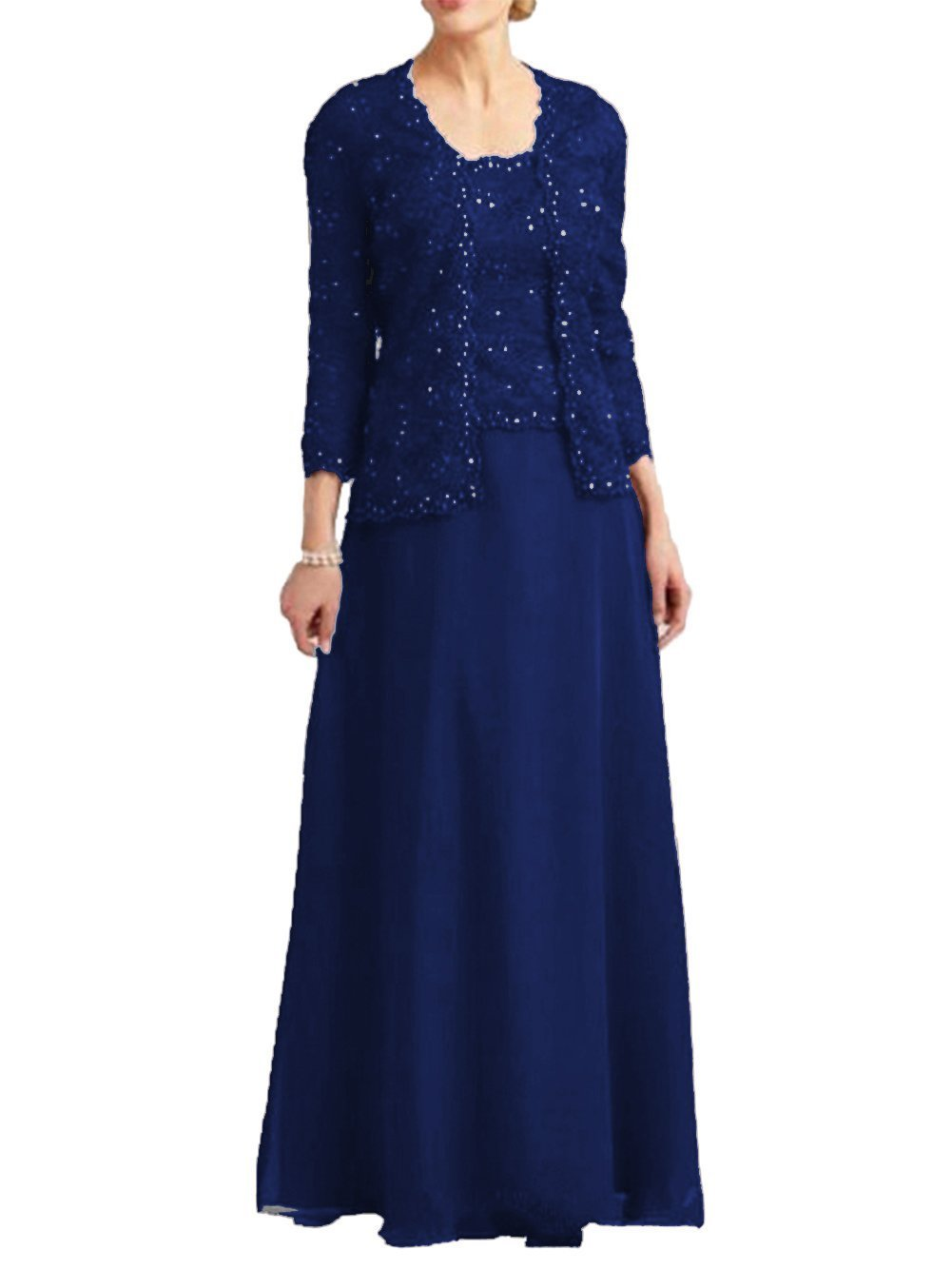 Dressyu Lace Mother of The Bride Dress with Jacket Beaded Long Vintage Chiffon Formal Gown Royal Blue US22W
