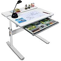 HONEY JOY Kids Desk, Height Adjustable Study Table with Tilted Desktop and Storage Drawer, Multifunctional Workstation for Children, Gray