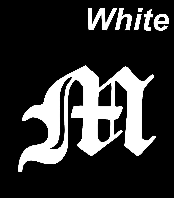 Amazon com decal vinyl sticker m alphabet english font 3 9 x 2 8 white car bike decals stickers automotive