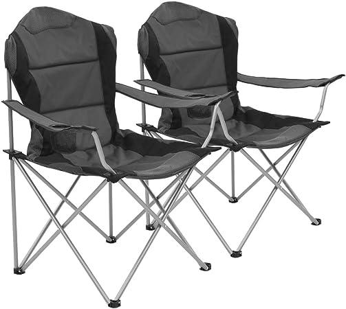 Festnight Lot de 2 pcs Chaises de Camping Pliable Gris et