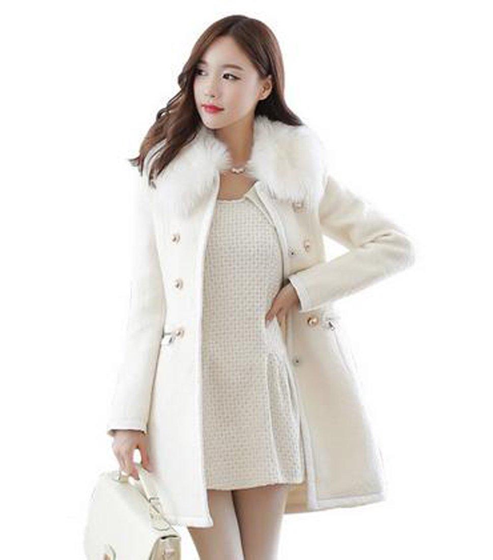 XQS Women's Long Sleeve Fall?Winter Fur Collar Woolen Coat