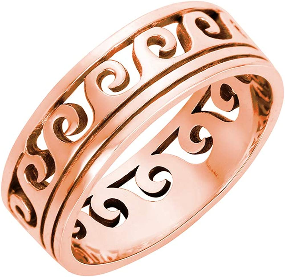 CloseoutWarehouse Sterling Silver Maori Ocean Wave Ring (Color Options, Sizes 4-15)