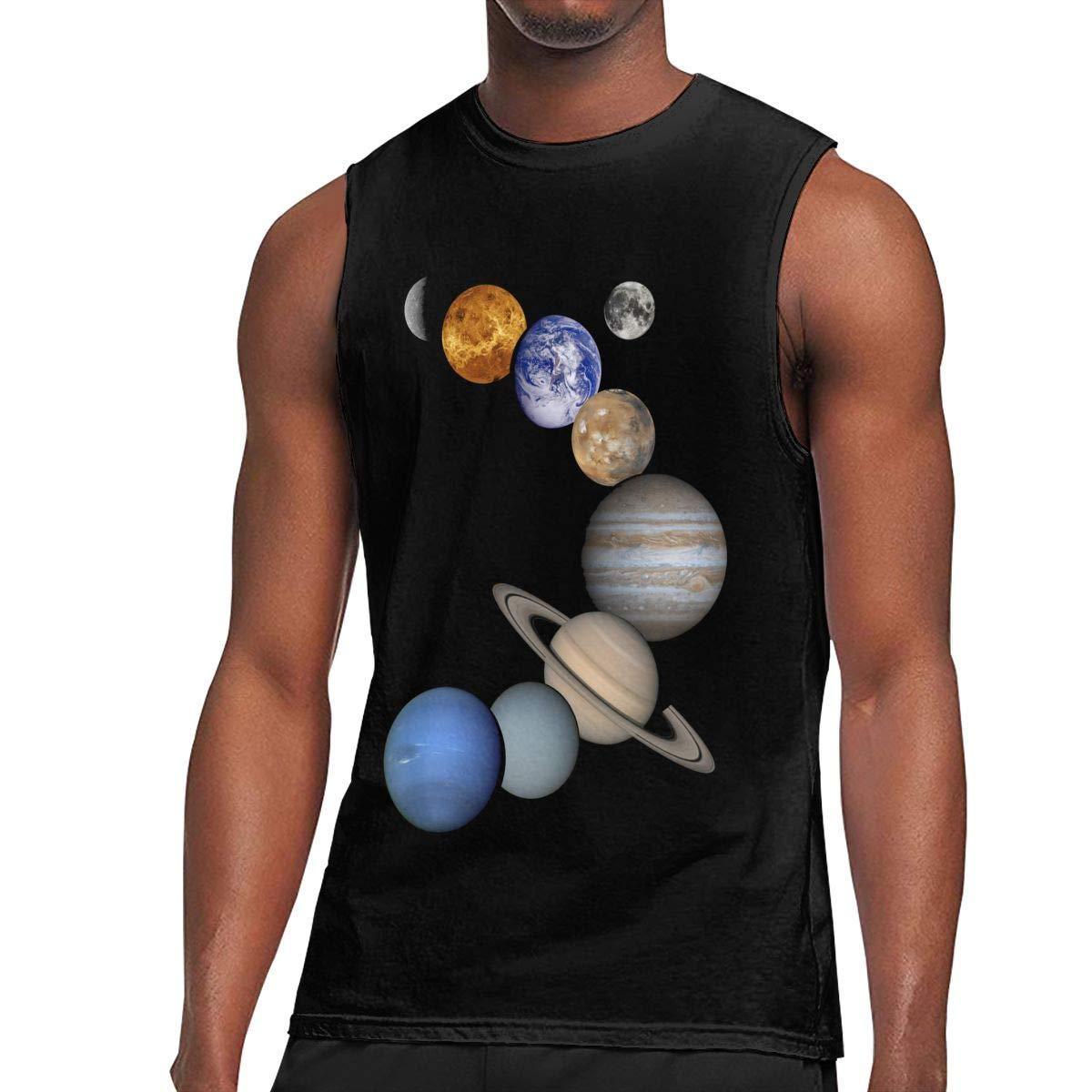 Au68pI@l Mens Solar System Planets Sleeveless Shirt Casual 100/% Cotton Vest for Mens