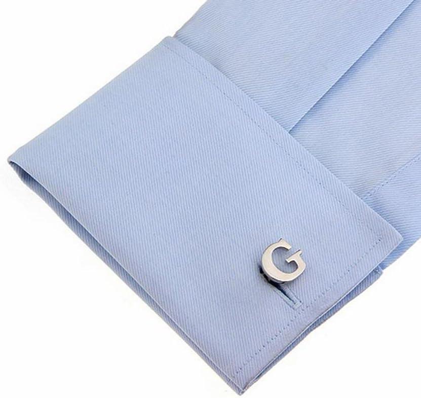 Hosaire Boutons de Manchette Hommes Simples Lettres G Chemise Boutons Affaires Bijoux Accessoires Argent