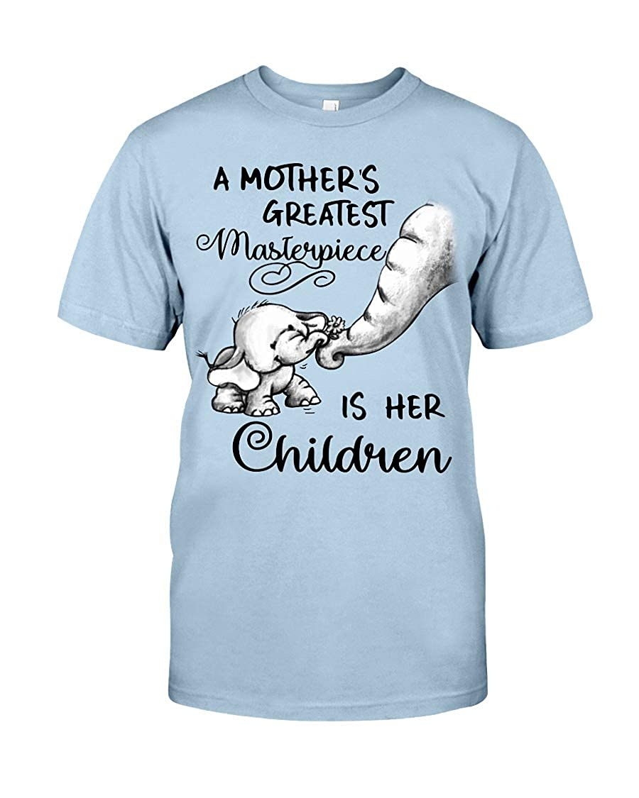 c1eba7465 Amazon.com: Elephant-A Mother's Greatest Masterpiece is HER Children  Classic T-Shirt for Women/Men: Clothing