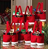 "Disumos 6 Pcs Christmas Candy Bag Santa Pants Gift and Treat Bags with Handle Portable Candy Gift Baskets Gift Wrap for Wedding(7""L x 8.5""H)"