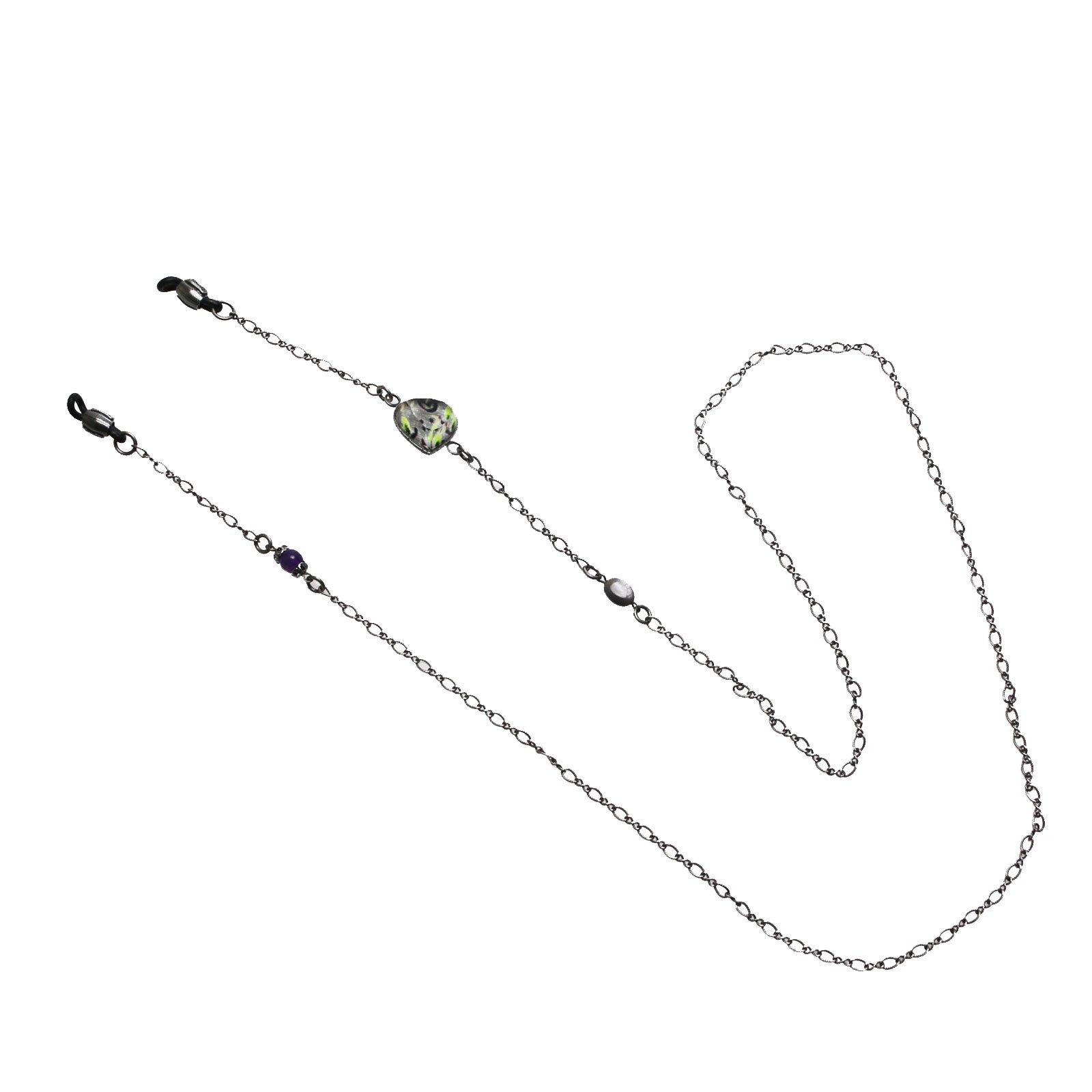 Tamarusan Eyewear Chain Heart Gray Shell Amethyst Unisex Eyeglasses Code by TAMARUSAN (Image #4)
