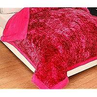 HOMECRUST Rajai Quilt Heavy Double-Bed Comforter Blanket for Winter Season - Red