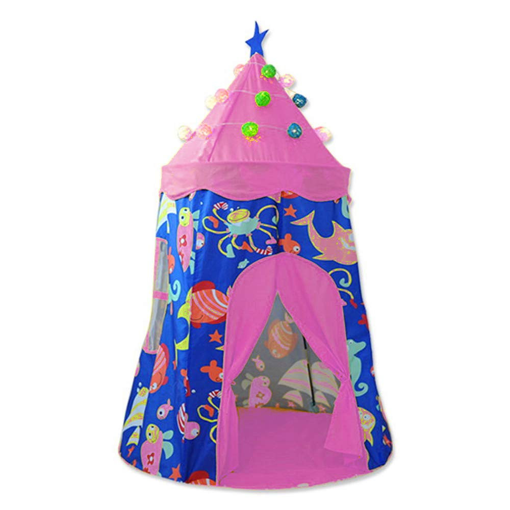 yuandao Kids Yurt, Sea Themed Kids Tent, Teepee Tent for Kids, Kids Playhouse for Indoor and Outdoor Games, 39'' x 57''(DxH)(PurpleΠnk)