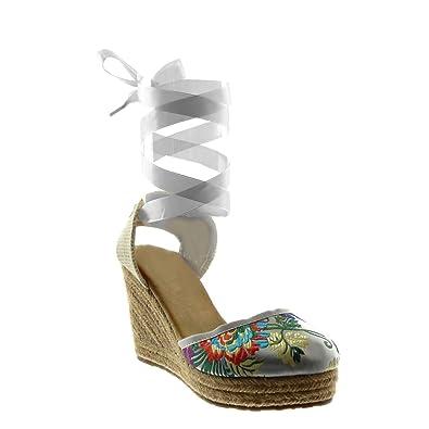 f5ebc009787240 Angkorly - Chaussure Mode Sandale Espadrille Montante Plateforme Femme  Lacet Ruban Satin Fleurs brodé Talon compensé