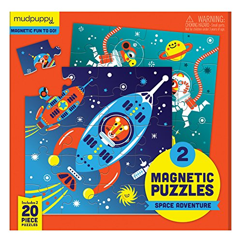 Mudpuppy 9780735355651 Space Adventure Magnetic Puzzle, Two 20Piece Puzzles in Tri-Fold Travel Portfolio, Ages 4 & Up, Multicolor