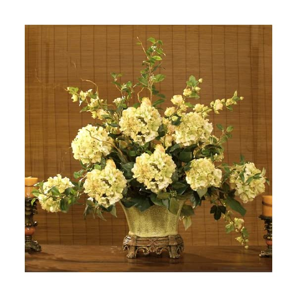 Green Hydrangeas in Scalloped Vase AR222-155