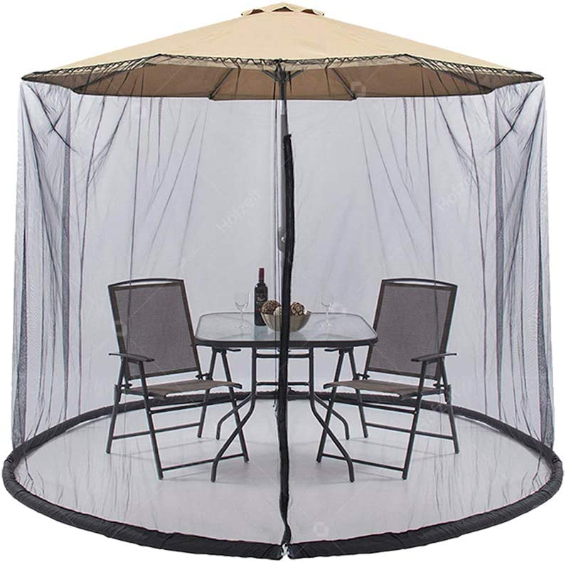 Hofzelt 9ft Outdoor Umbrella Cover Screen with Zipper Opening and Polyester Mesh Netting Canopy Curtains, Used for Garden Patio Tables (Black)