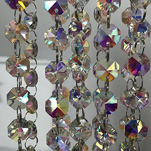 Crystal Bead Ab (10 Feet AB Colored Glass Crystal Beads Chain Strands Garland for Wedding Event Home Decoration)
