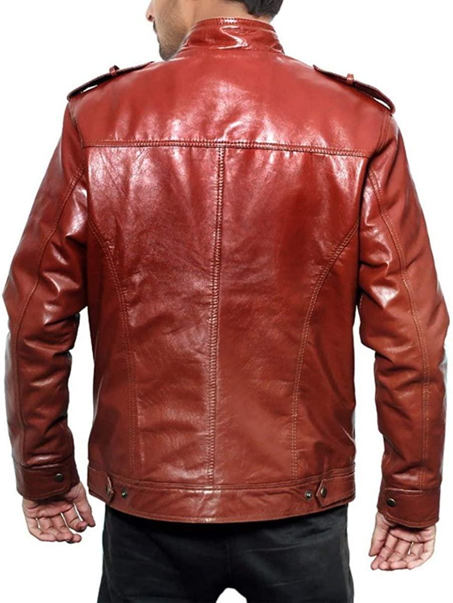 World of Leather Lambskin Leather Jacket Biker Casual Coat Red