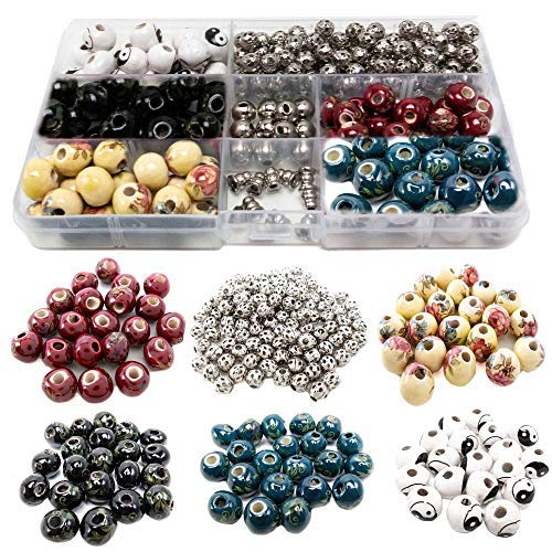 100 PCs Porcelain Bead Assortment & 120 Filigree Silver Beads Container Kit with Elastic Cord and Free Necklace Jewelry Making Finding Supplies for Adults - Great for Bracelets, Necklaces, Crafts (7) (Porcelain Beads Charms)