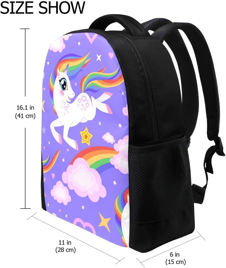 Unicorn Rainbow Print Laptop Backpack High School Bookbag Casual Travel Daypack