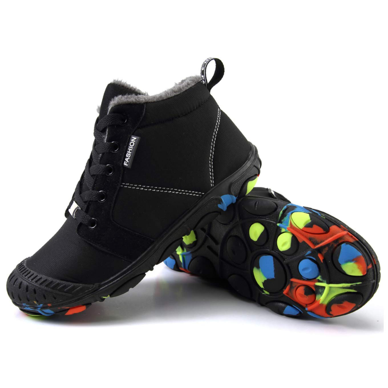 Qiucdzi Kids Snow Boots Lace-Up Waterproof Non-Slip High Top Shoes Boys Girls Fur Lining