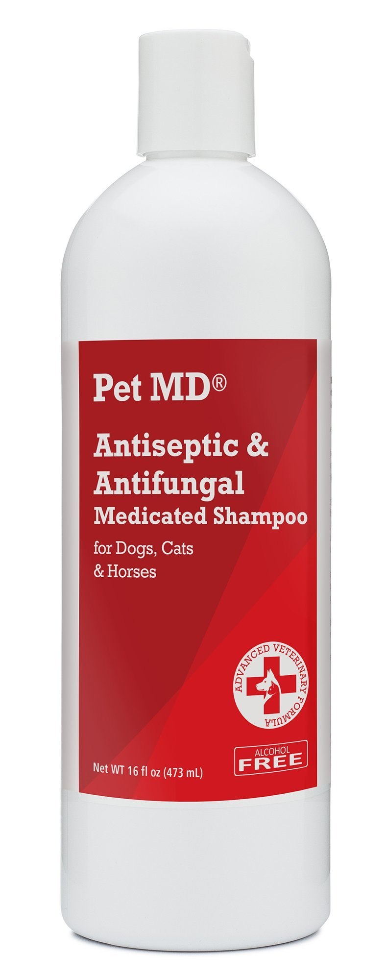Pet MD - Medicated Shampoo for Dogs, Cats and Horses with Chlorhexidine and Ketoconazole - Soap and Paraben Free - 16 Oz