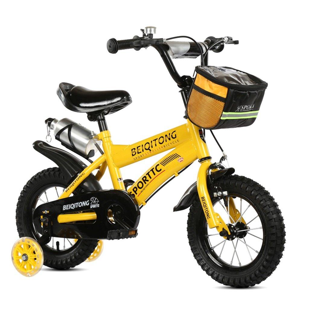 子供の自転車12|14|16|18|20インチ屋外の子供ベイビーキッドマウンテンバイクフラッシュトレーニングホイールで2歳から11歳の男の子の女の子の贈り物|布バスケット|ウォーターボトルセーフダンプイエロー B078JTPC6P14 inches