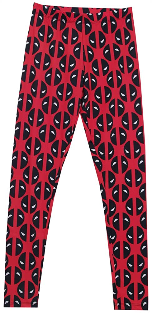 Deadpool Eyes All Over Pattern Marvel Comics Mighty Fine Womens Leggings