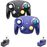 VTone Upgraded Classic 2.4G Wireless Gamecube Controller with Receiver Adapter for Wii U Gamecube NGC GC (Black and Dark Blue