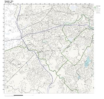 Amazoncom ZIP Code Wall Map of Newton MA ZIP Code Map Laminated