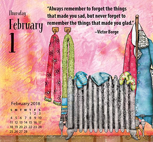"""LANG – 2018, 365 Daily Thoughts Box Calendar – """"Be Good To Yourself"""", Artwork by Eliza Todd – 2018, Daily Inspirational Quotes in Tear-Off Format, 3.4″ x 3.3″ x 1.6″"""