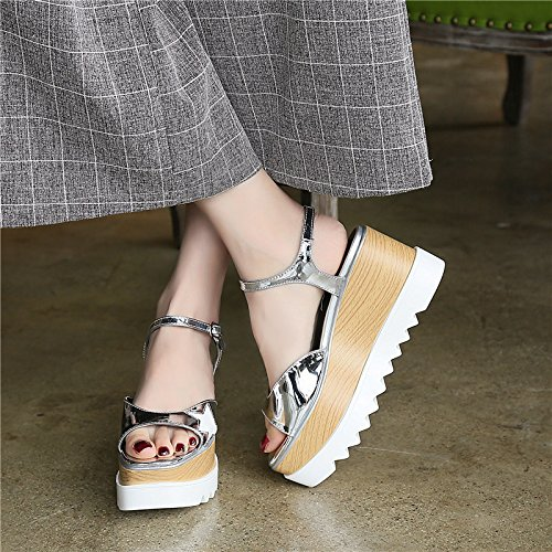 Xing Lin Ladies Sandals Sandals Women Summer New Square Slope With Thick Soles Shoes Increased Casual Female Sandals Silver ICbRX